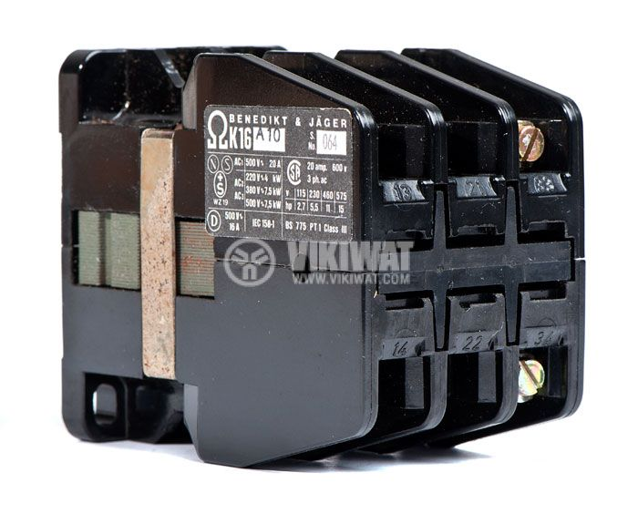 Contactor, three-phase, coil 220VАC, 3PST - 3NO, 16A, K16A10, NO - 1