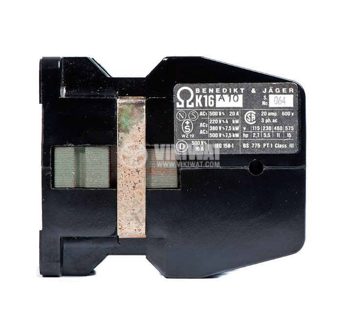 Contactor, three-phase, coil 220VАC, 3PST - 3NO, 16A, K16A10, NO - 2