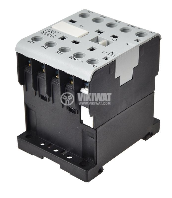 Контактор трифазен CJX2-K1201Z, бобина 12VDC, 3PST - 3NO, 12A, NC - 5
