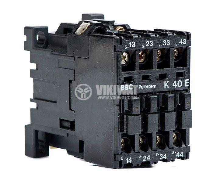 Контактор, трифазен, бобина 220VAC, 4PST - 4NO, 4A, K40E - 1
