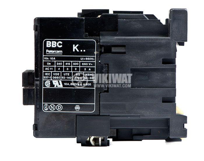 Контактор, трифазен, бобина 220VAC, 4PST - 4NO, 4A, K40E - 3