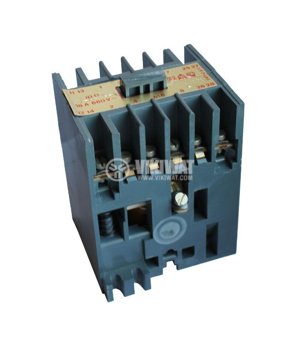 Contactor, four-pole, coil 380VAC, 4PST - 4NO, 16A, ID0
