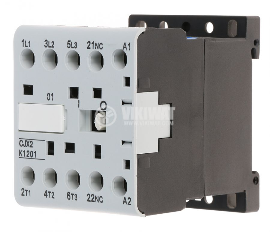 Contactor, three-phase, coil  220VAC, 3PST - 3NO, 12A, CJX2-K1201Z, NC - 1