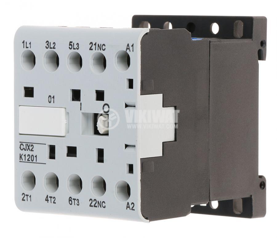 Контактор, трифазен, бобина 220VAC, 3PST - 3NO, 12A, CJX2-K1201Z, NC - 1