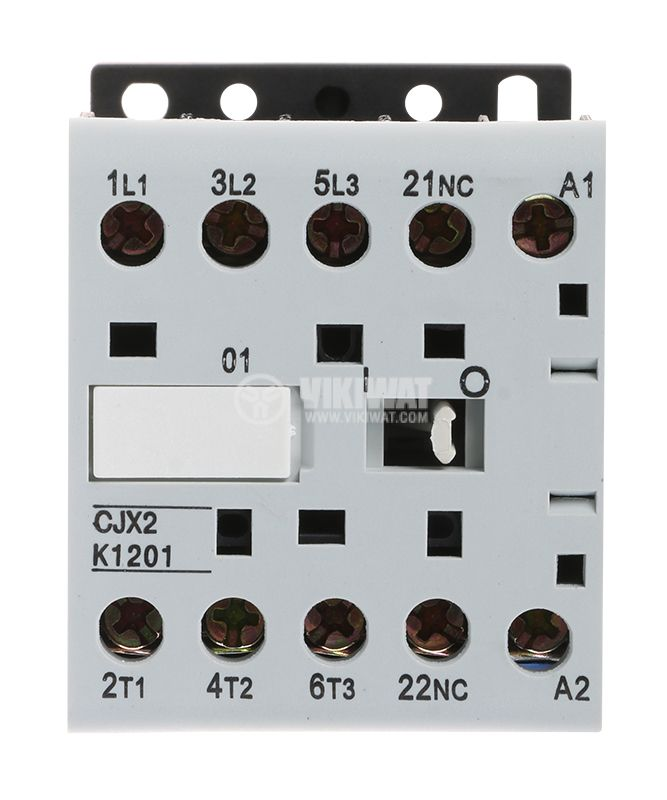 Contactor, three-phase, coil  220VAC, 3PST - 3NO, 12A, CJX2-K1201Z, NC - 2