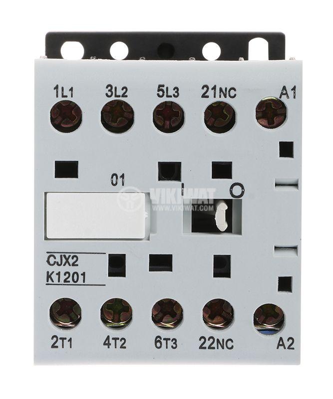 Контактор, трифазен, бобина 220VAC, 3PST - 3NO, 12A, CJX2-K1201Z, NC - 2