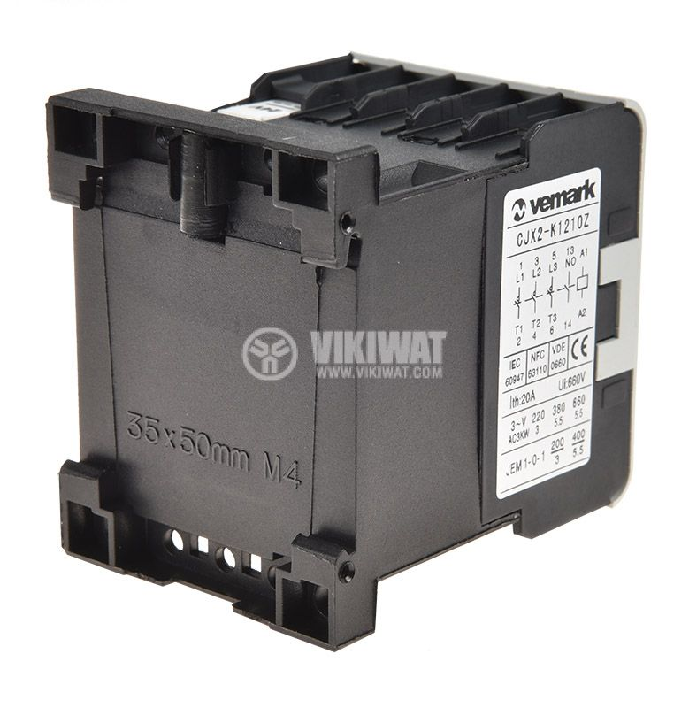 Contactor, three-phase, coil  24VDC, 3PST - 3NO, 12A, CJX2-K1210Z, NO - 2