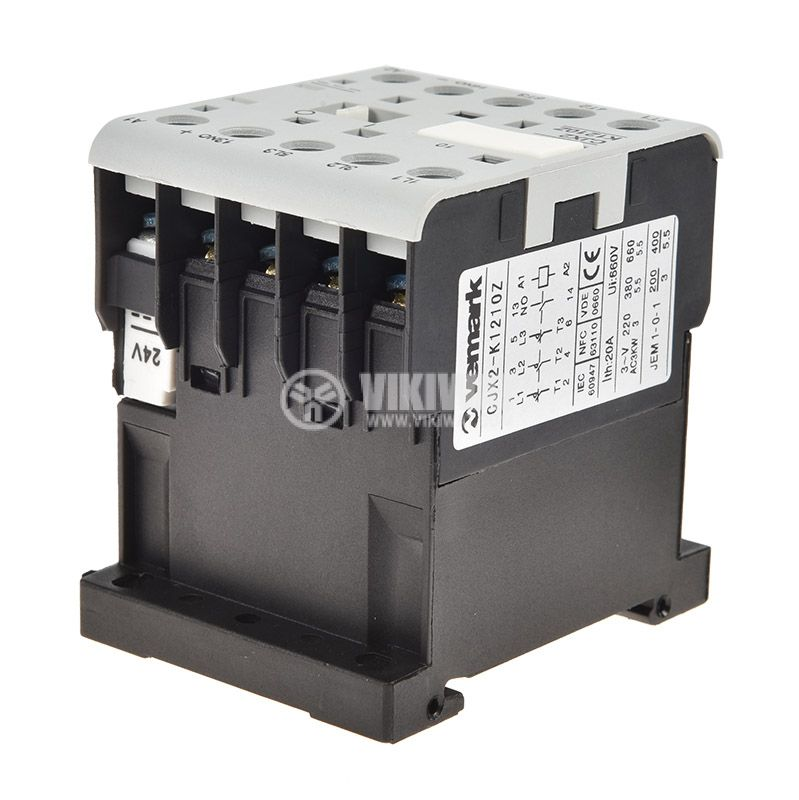 Contactor, three-phase, coil  24VDC, 3PST - 3NO, 12A, CJX2-K1210Z, NO - 4