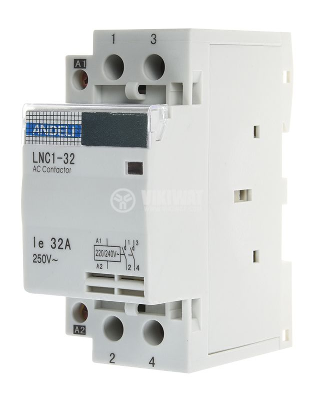 Contactor, single-phase, coil 220VAC, 2PST - 2NO, 32A, LNC1-32 - 1
