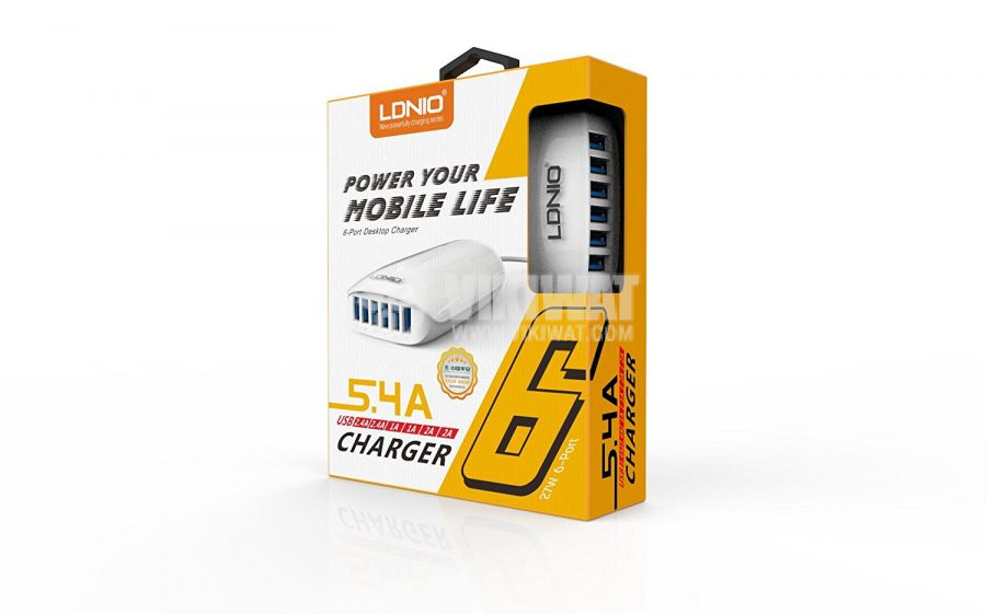 Charger for mobile devices and tablets, Ldnio, 6 port, 220V, 27W, 5.4A - 3