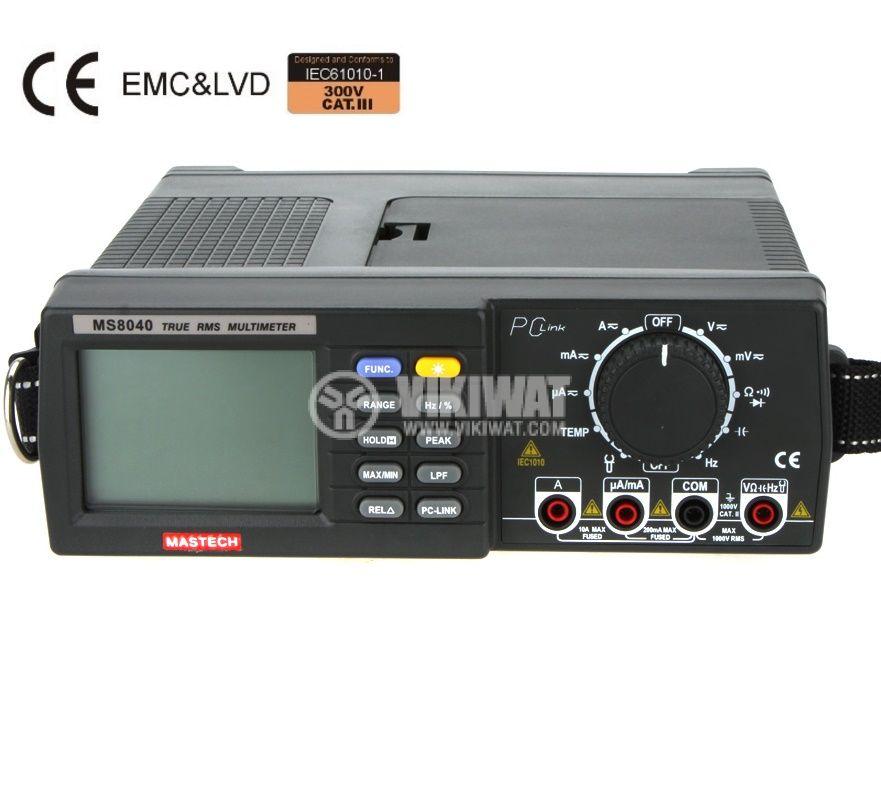 Цифров настолен мултиметър MS8040, True RMS, RS232, Vac, Vdc, Aac, Adc, Hz, Ohm, F, °C - 1