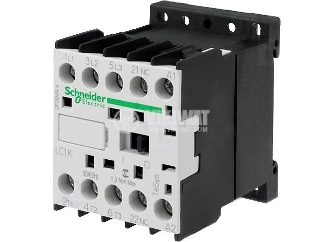Contactor, three-phase, coil 220VAC, 3PST - 3NO, 16A, LC1K1610M7, NO