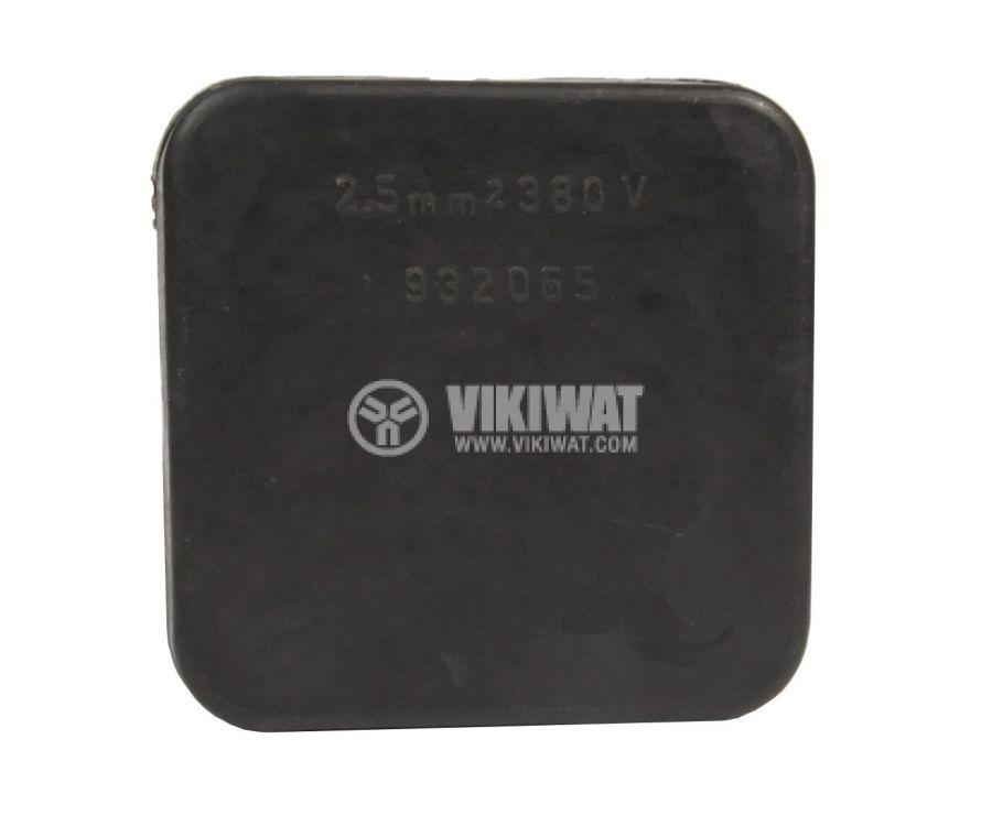 Кутия, разклонителна, за външен монтаж, с капак, черна, PVC, 72x72x33mm - 1