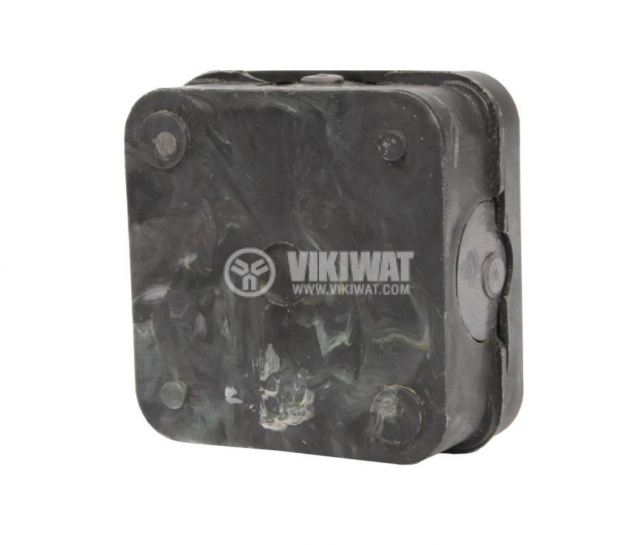 Кутия, разклонителна, за външен монтаж, с капак, черна, PVC, 72x72x33mm - 3
