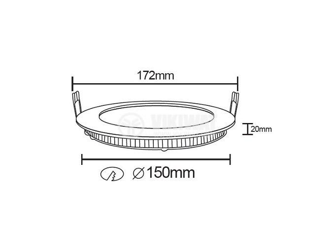 LED панел за окачен таван BL07-1210, 12W, 220VAC, 4200K, неутралнобял, Ф172mm, за вграждане - 2