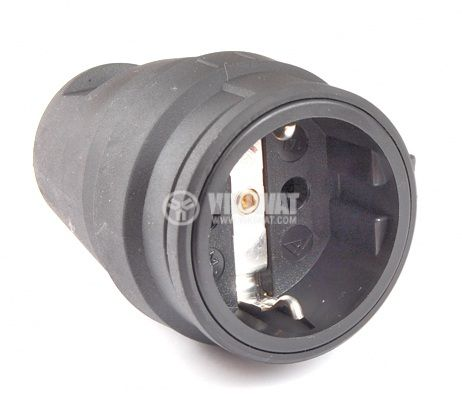 "Гнездо ""Атра"" черен гумен 16А/250V"