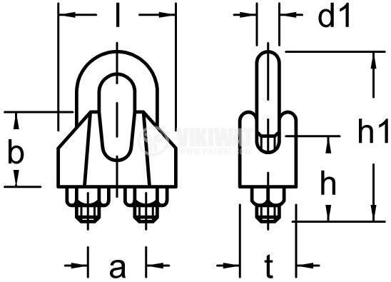 Клипс, скоба за метално въже ф12 mm - 5