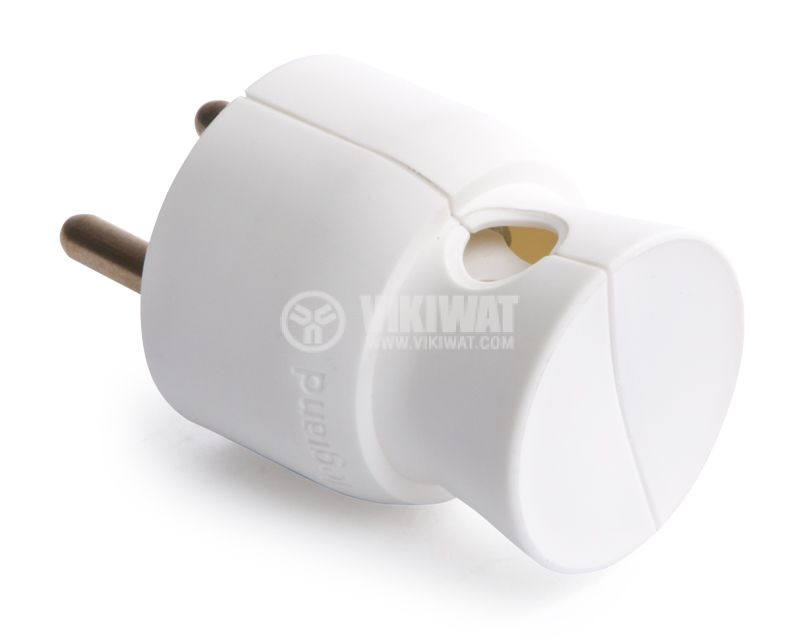 Mains Plug, french type, 250VAC, white, 16A, 2P + T, LEGRAND, 50416 - 3