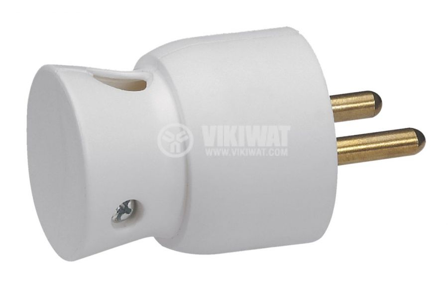 French type mains plug, 250VAC, white, 16A, 2P + T, Legrand, 050416 - 1