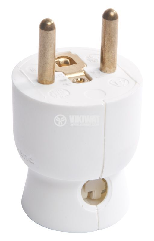 Mains Plug, french type, 250VAC, white, 16A, 2P + T, LEGRAND, 50416 - 2