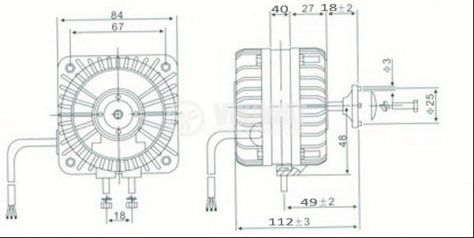 Електродвигател за хладилни инсталации HL-YJF25 220-240VAC 50/60Hz 25W 0.70A 1300r/min - 2