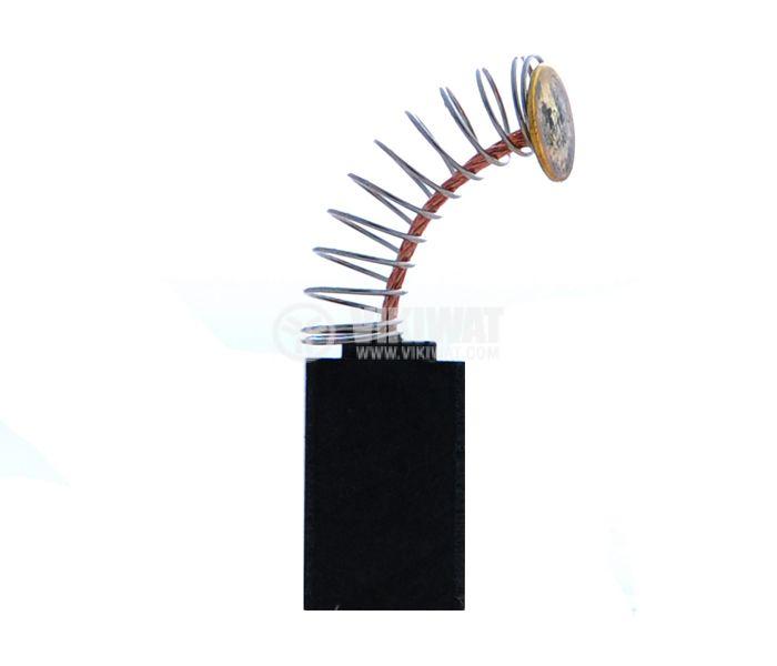 Четка въглено-графитна, SG-99-010-88, 6.3x11x18 mm, с централен извод, пружина с кръгъл накрайник Ф8 mm