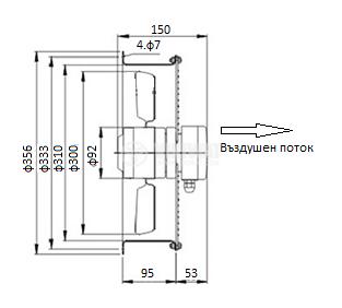 Axial Duct Fan, VS-2E-300, Ф300mm, 220VAC, 190W, 3250 m3/h - 3