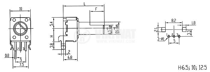 Потенциометър линеен моно въглероден 20kOhm 0.05W WH9011-2-F - 2