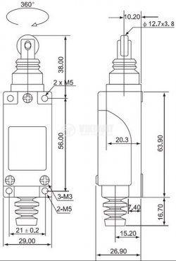 Краен изключвател, TZ-8112, SPDT-NO+NC, 5A/250VAC, щифт с ролка - 2
