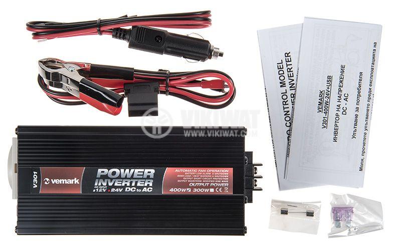 Инвертор V301-400-USB-24, 24VDC - 220VAC, 400W, с USB, модифицирана синусоида - 5