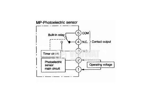 Photoelectric switch MP-R500P, NO+NC, retroreflective,100-240VAC/DC, range 3m - 5