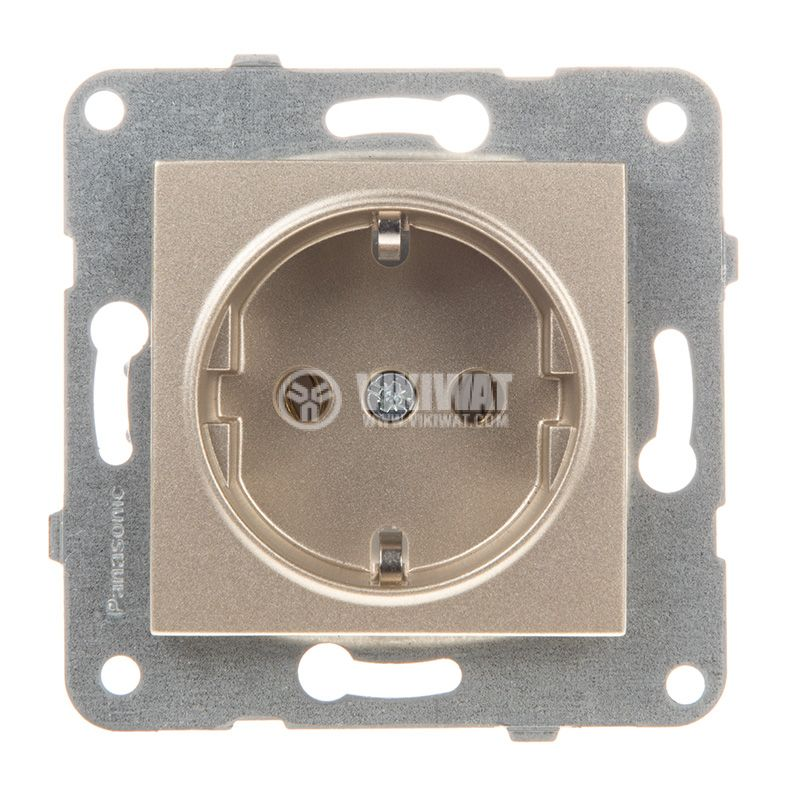Power electrical socket, 2P+E, Karre Plus, Panasonic, 16A, 250VAC, bronze, built-in, Schuko, WKTT0202-2BR, mechanism+cover plate - 1