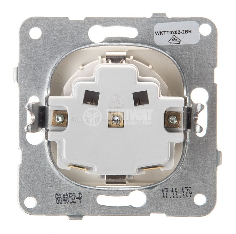 Power electrical socket, 2P+E, Karre Plus, Panasonic, 16A, 250VAC, bronze, built-in, Schuko, WKTT0202-2BR, mechanism+cover plate - 3