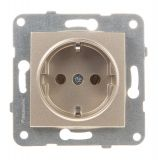 Power electrical socket, 2P+E, Karre Plus, Panasonic, 16A, 250VAC, bronze, built-in, Schuko, WKTT0202-2BR, mechanism+cover plate
