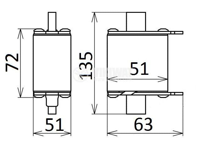 Предпазител, стопяем, ВП-21, 250A, 500VAC, gT, ножовиден - 2