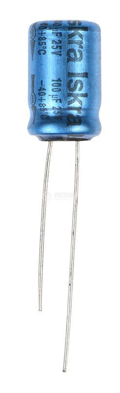 Кондензатор електролитен 100uF, 25V, ф10x16.5mm