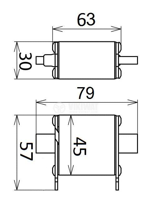 Предпазител, стопяем, RT16-00, 50A, 500VAC, gG/gL, ножовиден - 2