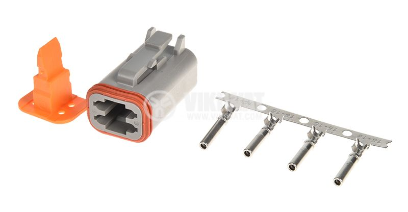 Connector DT06-4S, 4 pins, 13A, with pins - 1