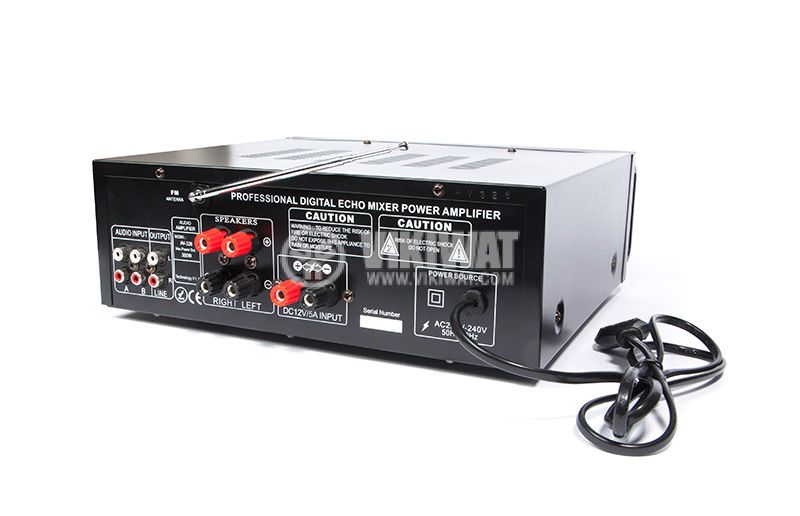 Amplifier, karaoke, 2х120W, Bluetooth, USB, SD, 3.5mm, UKC AV-326BT - 4