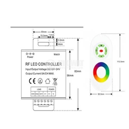 LED RF controller with sensor ,12-24VDC, 18A, 216W, IP20, non-waterproof, BY30-01120 - 2