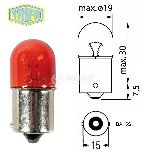 Автомобилна лампа, 12VDC, 5W, R5W, BA15S, червена