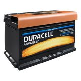 Car battery, 74AH, starter, 12VDC, right +, DURACELL DA 74