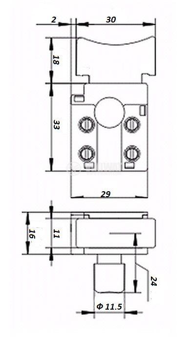 Електрически прекъсвач за електроинструменти F2-5/2BE 5A/250VAC - 1