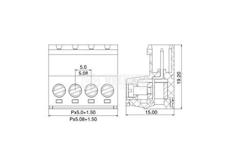 Мъжки  конектор, терминален блок 5 mm, VF2EDGRK - 5, 6pin, 15A - 2