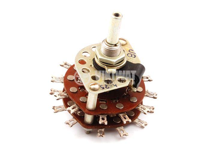 Ротационен превключвател (Галета) - 2 секции с по 3 контактни групи, 3 положения,