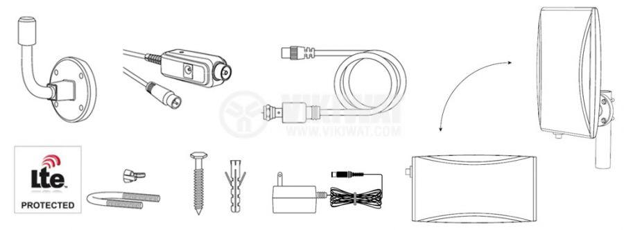 Ефирна DVB-T/T2 външна антена SRT ANT45, LTE филтър и усилвател - 3