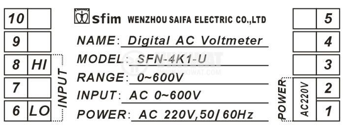 Digital voltmeter, 0-600V AC, SFD-48X1-U - 4