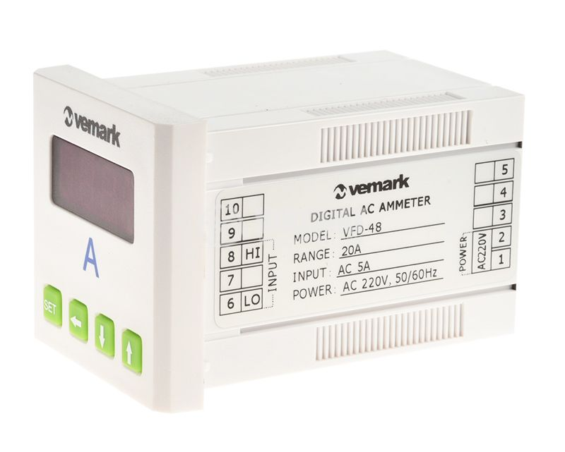 Digital ammeter, 0-5A AC, VFD-48 - 2