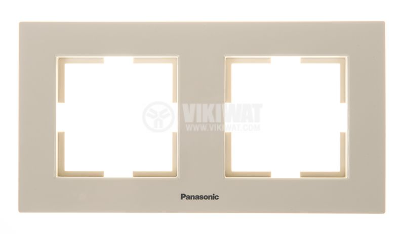 Double frame, Panasonic, horizontal, 81x154mm, beige, WKTF0802-2BG - 1