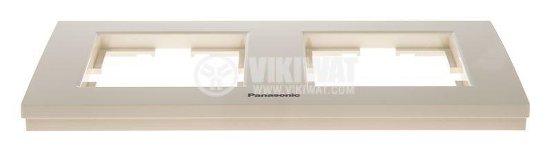 Double frame, Panasonic, horizontal, 81x154mm, beige, WKTF0802-2BG - 3